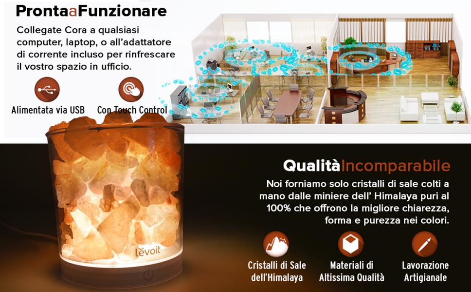 Lampada Di Cristallo Di Sale Ionizzante : Levoit cora lampada di sale himalayano lampadine incluse usb