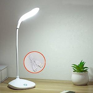 Clip Blu QiCheng/&LYS Lampada da Tavolo a LED Luce di Lettura Portatile a 3 Livelli con Luce Soffusa