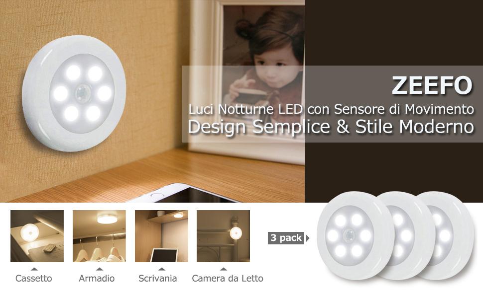 ZEEFO Luci Notturne LED Confezione da 3 con Sensore di Attivazione Movimento