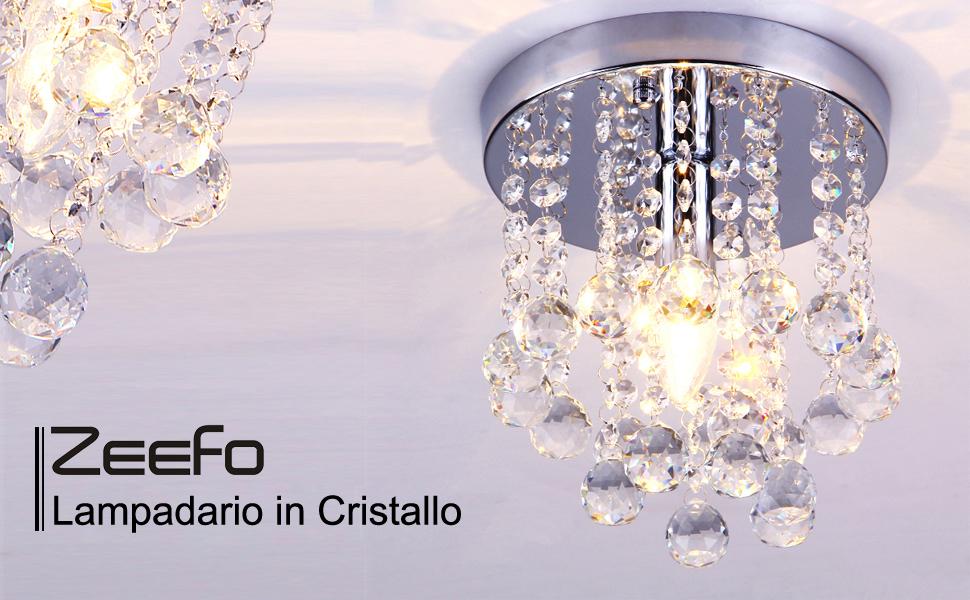 Plafoniere Cristallo E Acciaio : Zeefo lampadario in cristallo pendente k