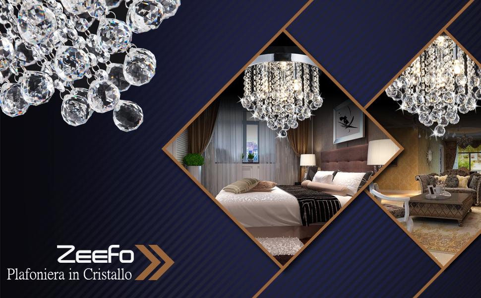 Plafoniere In Cristallo Miglior Prezzo : Zeefo plafoniera in cristallo moderno lampadario a sfera