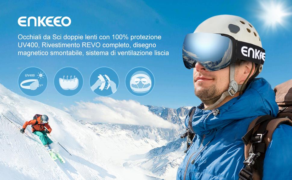 enkeeo maschera da sci  ENKEEO Occhiali da Sci Lente Magnetica Staccabile Doppio Strato Anti ...
