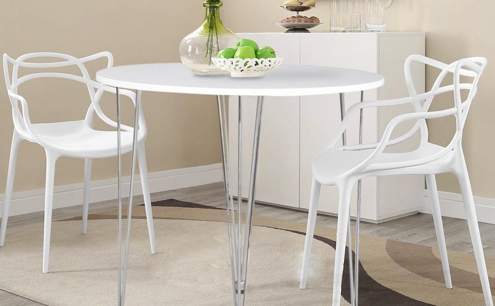 ASUUNY Tavolo da Cucina Rotondo, Tavolo da Cucina Bianco, tavolino da  Salotto Moderno con Gambe a forcina per Sala da Pranzo Cucina Ufficio Lounge