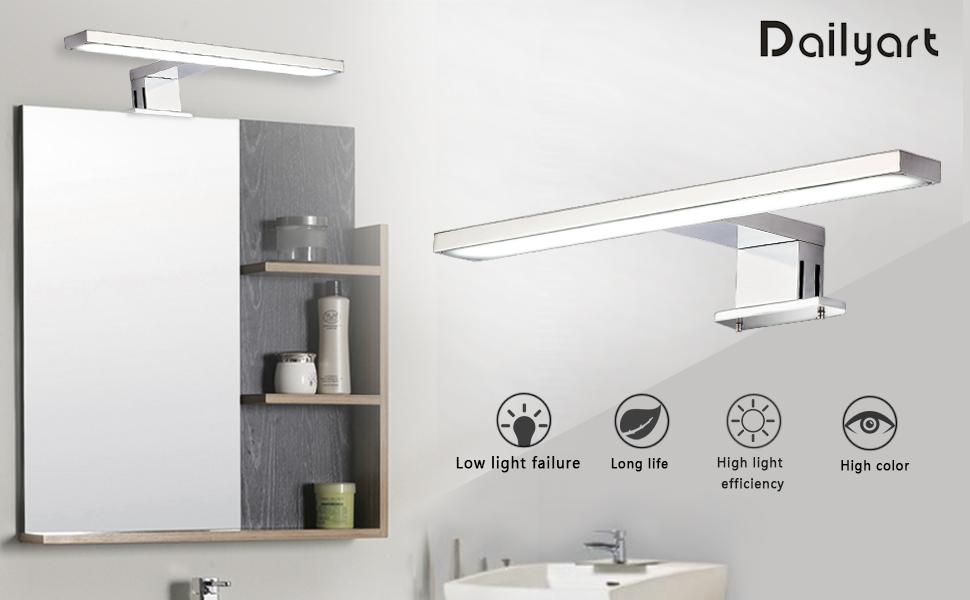 40mm 100 Dailyart Aplique Espejo DE Ba/ño 5W 325lm Aplique Ba/ño LED Sala de Ba/ño IP44 L/ámpara de pared para espejo de ba/ño Armario con Espejo L/ámpara 4000K Clase de eficiencia energ/ética A++ 300