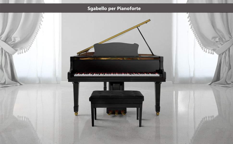 Costway sgabello pianoforte sgabello da tastiera panca per