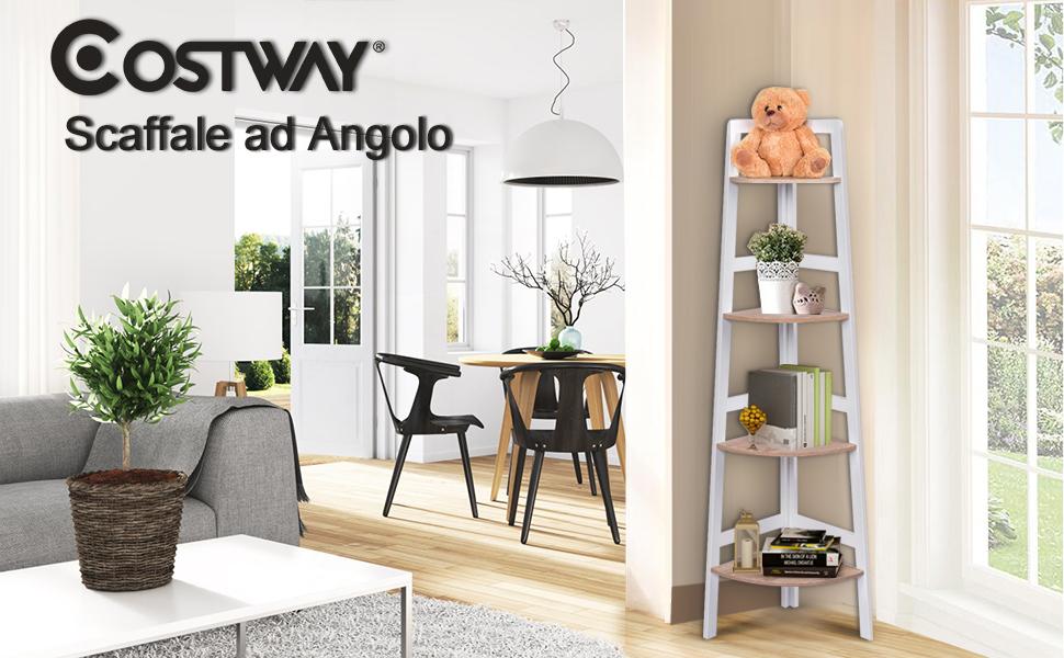 Bianco Costway Mobile ad Angolo Scaffale Angolare a Ripiani ...