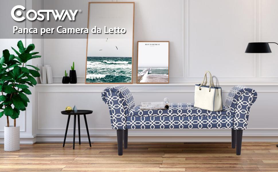 COSTWAY Panca Imbottita per Camera da Letto Panchina per Ingresso Soggiorno  102 x 31 x 51 cm (Blu)