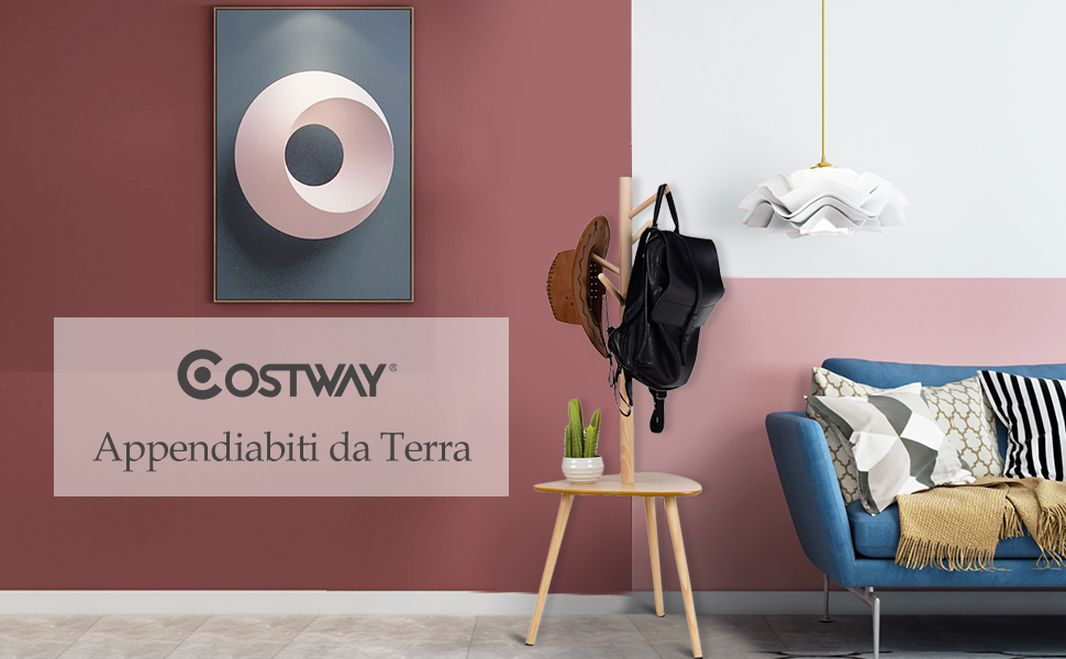 Modello 2 COSTWAY Attaccapanni 44,5x44,5x121,5 cm Appendiabiti da Terra in MDF e Legno Ecologici Il Colore Naturale
