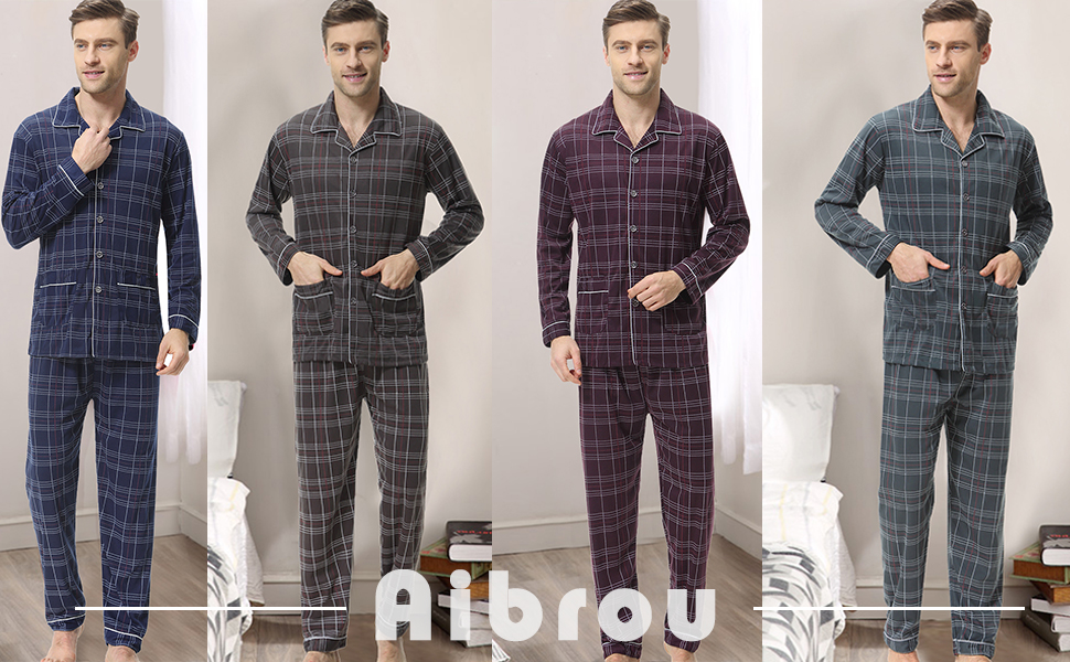 XLARGE Blu Navy Grigio Uomo Pigiami Sottile a Righe Manica Lunga Top e Pantaloni Pantaloni