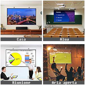 ExquizOn 100 Pollici Telo per Proiettore 16:9 Full HD 4K 3D 1080P Schermo per Proiezione A Montaggio Rapido Schermo Portatile Adatto per Le Presentazioni di Home Cinema//Riunione//Aula ed Aria Aperta