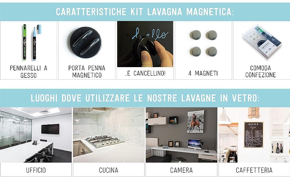 Lavagna Memo Magnetica in Vetro 48 X 48cm Nera Stationery Island SI17-OS-GB-4848BK nero