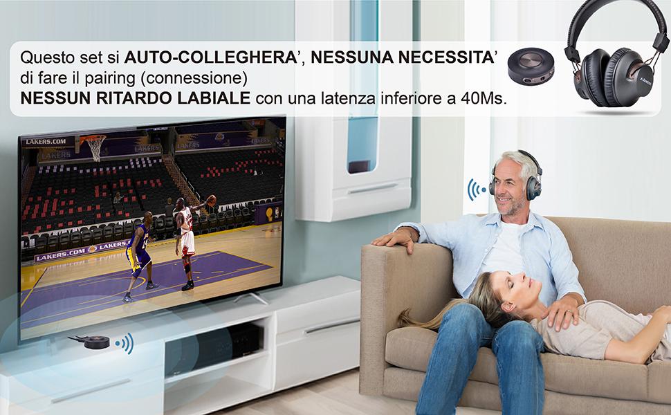 Avantree HT3189 Cuffie TV Senza Filo con Bluetooth Trasmettitore 2e9c0a5634b0