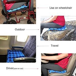Goodchanceuk 40/x 40/cm PVC anti-bedsore waffle Air seduta Mat sigillato costruzione per sedia a rotelle con pompa blu Medical gonfiabile cuscino
