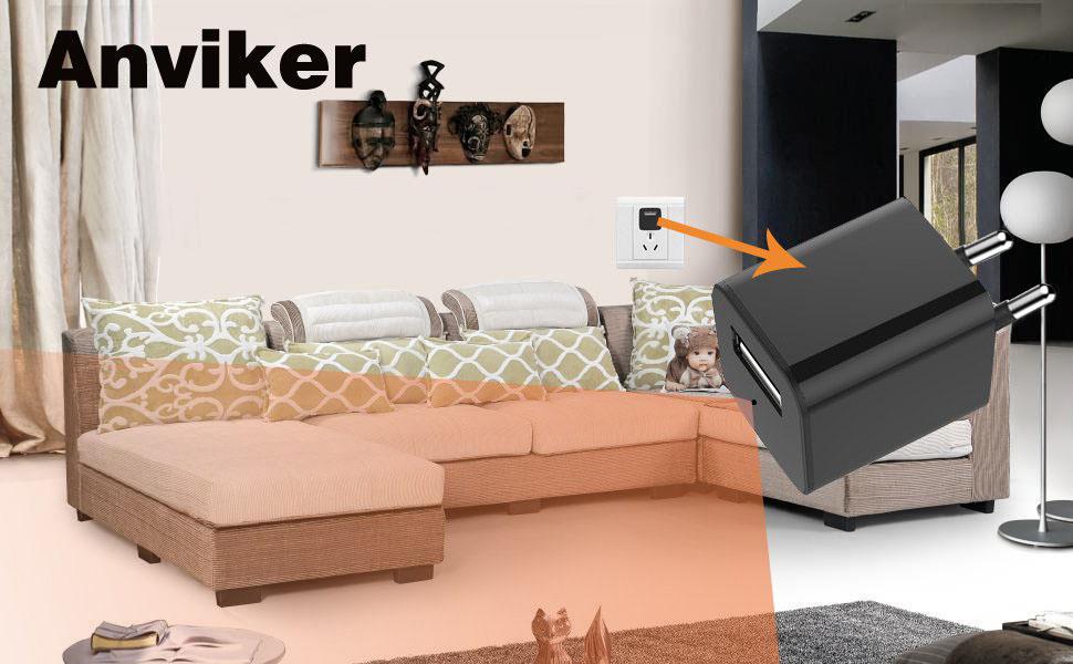 Telecamera nascosta 1080P HD Caricatore USB da parete Telecamera nascosta caricabatteria per bambinaia con funzione di rilevamento del movimento non includere scheda SD