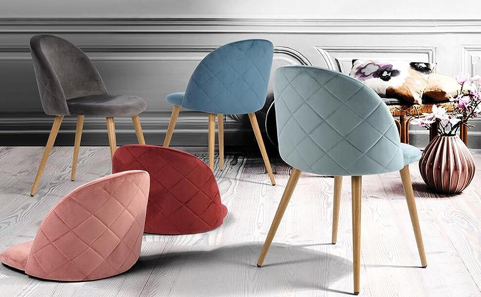 Sedie Sala Da Pranzo Moderne : Coavas sedie in morbido velluto seduta e schienale imbottiti con