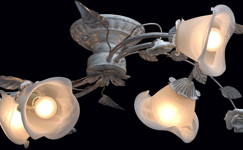 Plafoniere Rosse Da Esterno : Lampade da soffitto bianche e colore oro metallo vetroceramica a
