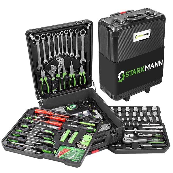 39b24b2929 STARKMANN Blackline 399 pz. Valigetta di attrezzi Premium Porta attrezzi  Cassetta in alluminio con serratura Trolley