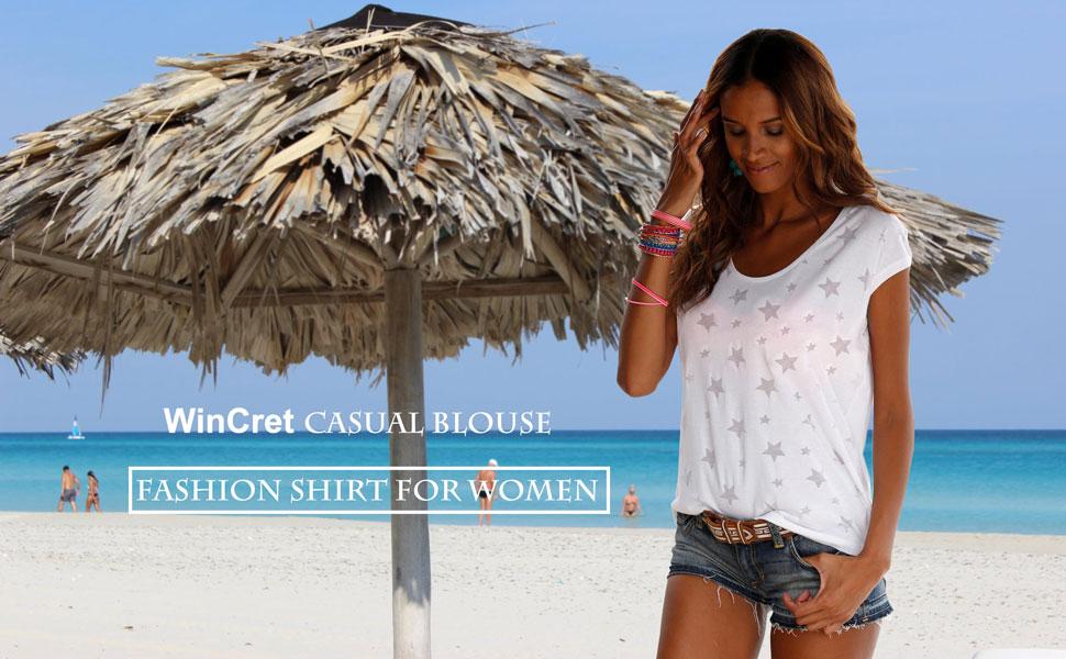WinCret T-Shirt Donna Girocollo a Maniche Corte Stampata Donna Top Casual Versatile Blouse