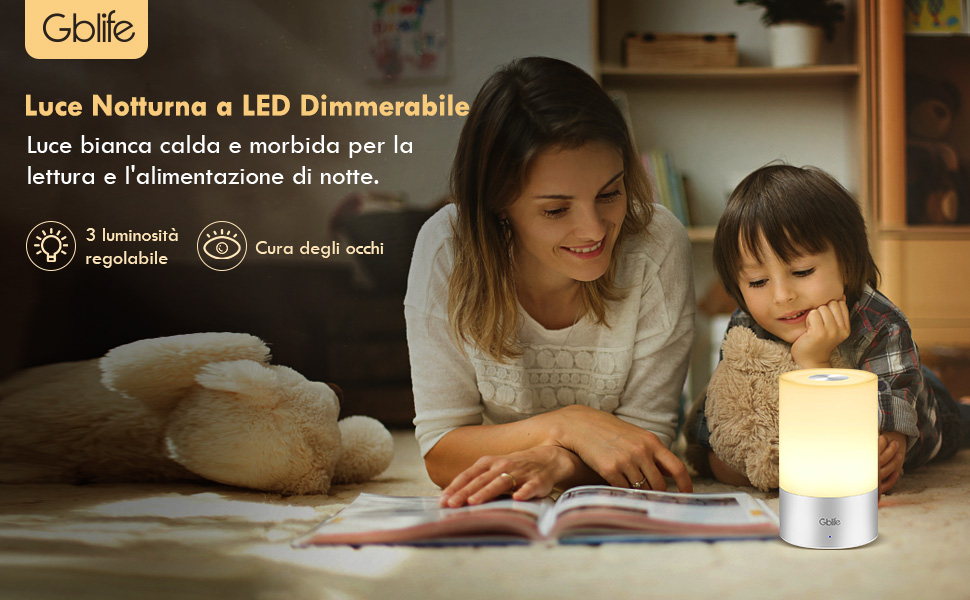 Lampada da comodino a LED GBlife Touch Control Luce notturna ricaricabile con luce bianca calda dimmerabile e luci RGB colorate per camera da letto