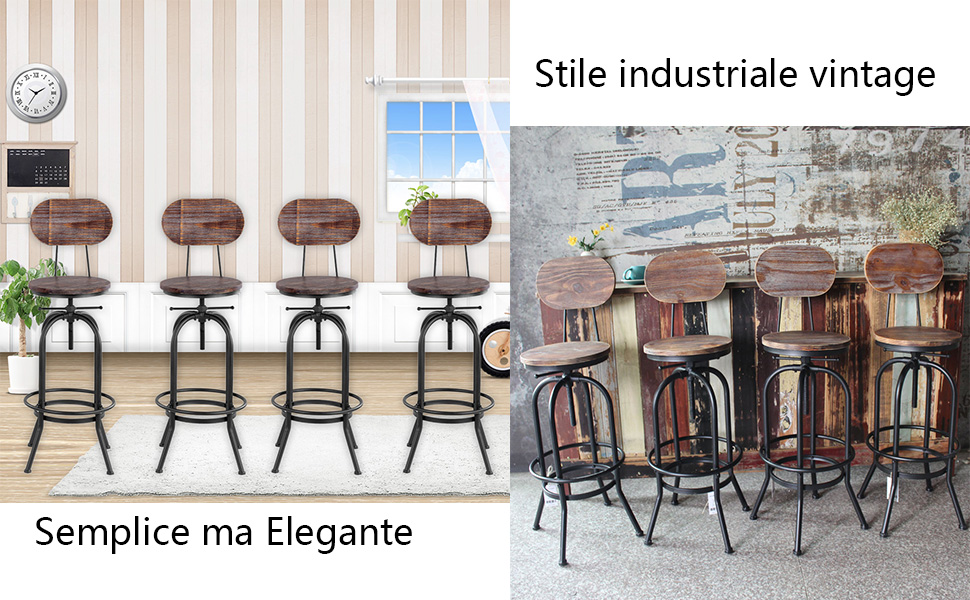 Ikayaa sgabello industriale set di 4 sgabelli da bar industrial