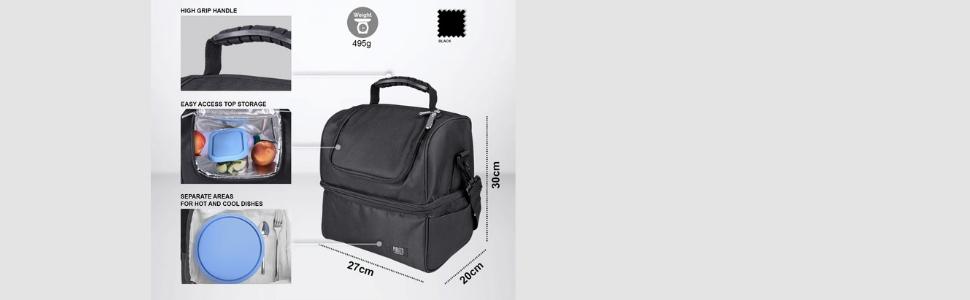 Borsa Porta Pranzo con Tracolla per Uomo e Donna Lunch Box Termica a Due Scomparti per Cibo Caldo e Freddo Portavivande Ufficio Scuola Lavoro
