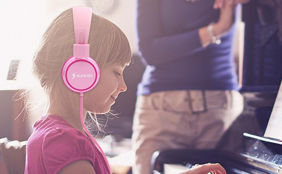 in Materiale per Uso Alimentare Cuffie On-Ear a Filo per Bambini Neonati senza BPA Cavo senza Grovigli Rosa SUNNZO Cuffie per Bambini con Protezione per lUdito Limitato in Volume 85dB