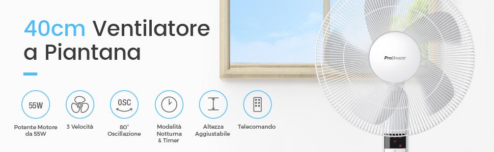 Pro Breeze® Ventilatore a Piantana da 40cm con Telecomando e Display a LED. 4 modalità operative e 80° Oscillazione. Testa del ventilatore regolabile in altezza e girevole