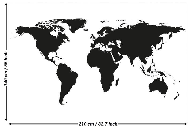 Carta da parati fotografica mappa del mondo in bianco e for Carta da parati cartina geografica