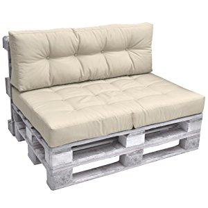 Beautissu Cuscino spalliera per Divano in Pallet Eco Elements  120x40x10-20cm - per divani con bancali di Legno - Beige