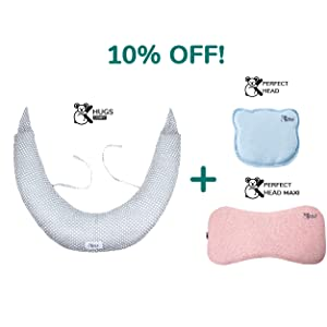 Bundle Cuscino Neonato Plagiocefalia in versioni blu e rosa e Cuscino Gravidanza con 10% off