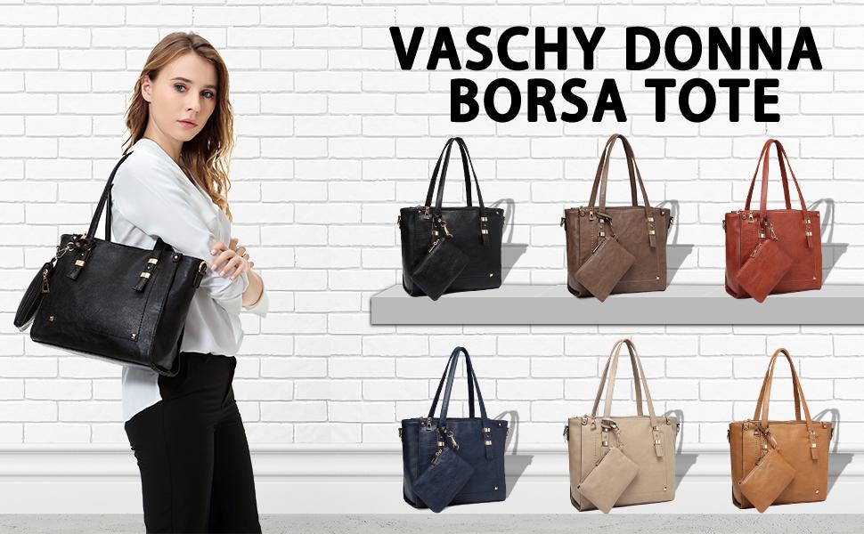 Vaschy Borsa a Mano Vintage Borse Tracolla Pelle Sintetica Borsa Spalla con Piccola Sacca Borse Tote Donna