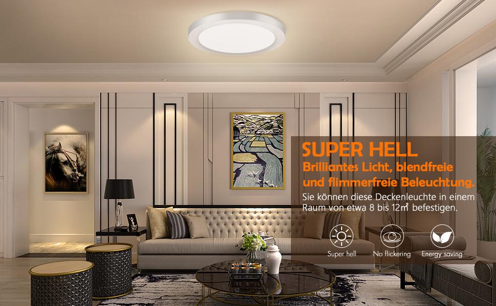 Plafoniere Ultra Sottile Salotto : Oeegoo 12w 15mm ultra magro led plafoniera con anelli cromato