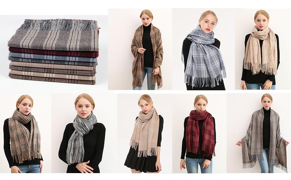 Donna Morbida sciarpa in lana di cashmere Grande scalda Pashminas e avvolgente coperta con stola