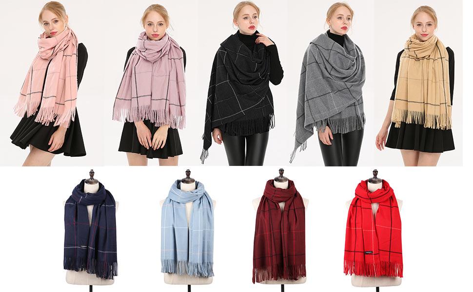 Longwu Donna Morbida sciarpa in lana di cashmere Grande scalda Pashminas e avvolgente coperta con