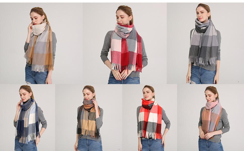 Longwu Donna Morbida sciarpa in lana di cashmere Grande scalda Pashminas e avvolgente coperta