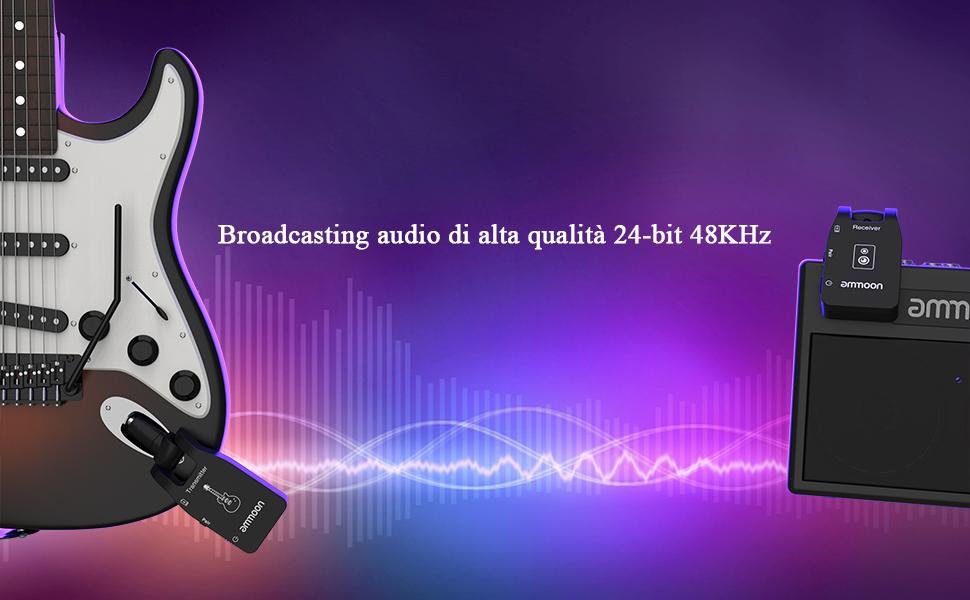 ammoon Sistema di Chitarra Wireless Trasmettitore e Ricevitore 2.4G con 6 Canali Audio Ricaricabile per Chitarra Elettrica e Basso Elettrico