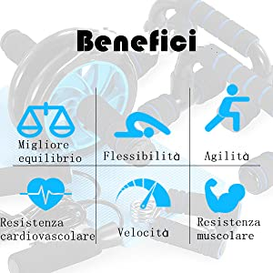 TOMSHOO 5-in-1 Fitness Workout Set - AB Wheel Roller Addominali +2 Maniglie per Flessioni + Corda per Saltare + Pinza… JvbairjpRUSg. UX300 TTW