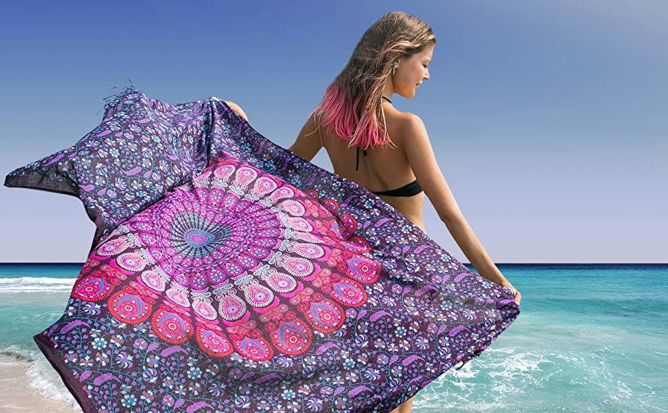 Burgudy Diamante Rose Grandi da Spiaggia Sarong Pareo Wrap Fibbia GRATIS