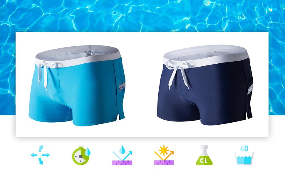 Tessuto resistente al cloro, acqua salata e con protezione UV.