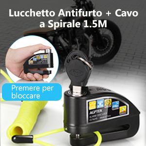 AGPTEK Lucchetto Antifurto Moto Impermeabile con Allarme 6mm 110DB con Cavo a Spirale Verde 1,5m con 3 chiavi Nero