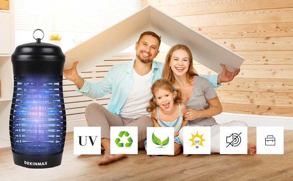 DEKINMAX Zanzariera Elettrica 9W Lampada Anti-zanzara UV Antizanzare Trappola per Interno ed Esterno Giardino Campeggio