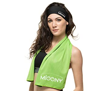Microfiber Gym Towel Cooling Bench Towel Instant Relief Heat Refreshing for Sports Fitness Yoga Hair Band Men Women Children Soft Antibacterial Travel Green