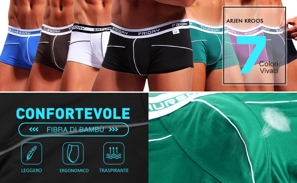 Arjen Kroos Boxer bamb/ù Uomo Mutande Intimo Pantaloni Giorni della Settimana