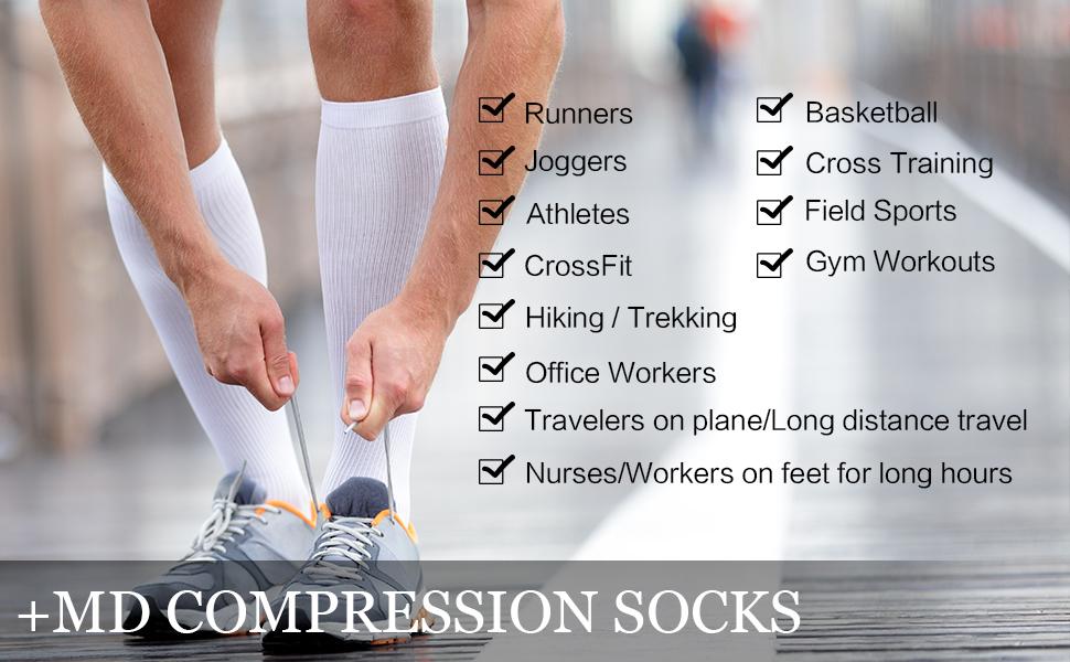 Calze a compressione per lumidita di bamb/ù 8-15 mmHg per uomo e donna Calze al ginocchio 6 paia Black//Grey//White10-13