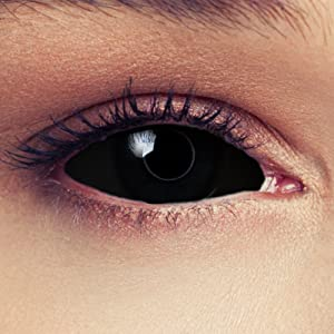 Black colored full sclera 22mm contacts without power carnival halloween zombie costume cosplay
