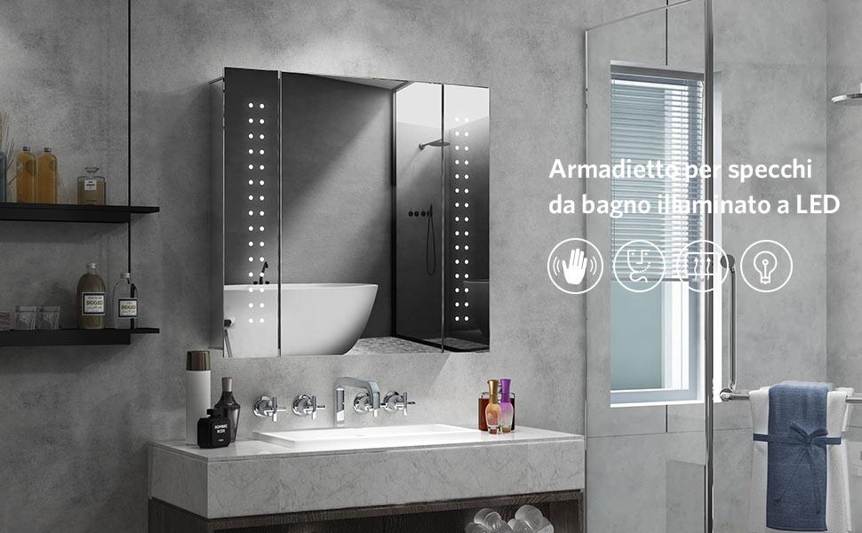 antiappannamento Interruttore sensore IR Quavikey Armadietto da Bagno con Specchio e Illuminazione LED 65x60x13 cm Presa per Rasoio