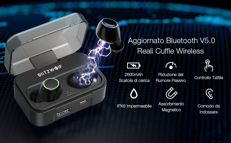 BlitzWolf 2600mAh Cuffie Bluetooth, IPX6 True Wireless Auricolare