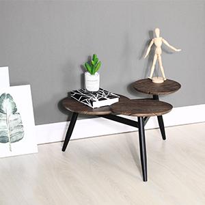 Aingoo Tavolini Tondegiante a Incastro Stile Industriale con 3 Piani in Legno Tavolini in Legno con Gambe in Metallo Marrone