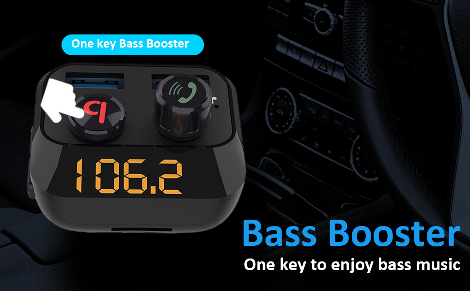 Trasmettitore FM Bluetooth per Auto Haice Trasmettitore Bivavoce Bluetooth per Auto con Caricatore per Basso//Caricatore per auto con 2 porte USB//Supporta scheda TF e chiavetta USB