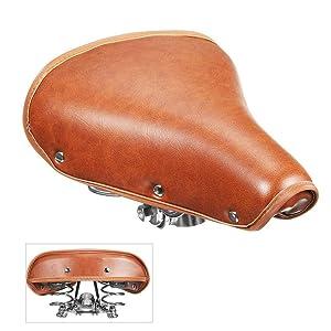 290 * 215 * 120mm arancione MACHSWON Sella bici retr/ò sedile vintage in pelle bovina con molle per bicicletta mountain bike